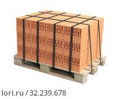 Купить «Stack of bricks on wooden pallet.», иллюстрация № 32239678 (c) Маринченко Александр / Фотобанк Лори