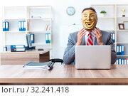 Купить «Businessman wearing mask in hypocrisy concept», фото № 32241418, снято 24 июня 2019 г. (c) Elnur / Фотобанк Лори