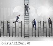 Купить «Competition concept with businessman beating competitors», фото № 32242370, снято 3 июля 2020 г. (c) Elnur / Фотобанк Лори