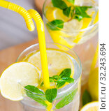 The glasss of mojito with lemon and drinking straw. Стоковое фото, фотограф Elnur / Фотобанк Лори
