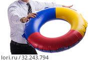 Купить «Young businessman with life buoy isolated on white background», фото № 32243794, снято 6 ноября 2017 г. (c) Elnur / Фотобанк Лори