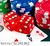 Chips and cards on casino table. Стоковое фото, фотограф Elnur / Фотобанк Лори