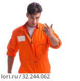 Купить «The prisoner in orange robe isolated on white background», фото № 32244062, снято 18 августа 2017 г. (c) Elnur / Фотобанк Лори