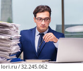 Купить «Workaholic businessman overworked with too much work in office», фото № 32245062, снято 11 октября 2016 г. (c) Elnur / Фотобанк Лори