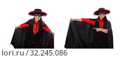 Купить «Girl in black and red carnival suit isolated on white», фото № 32245086, снято 13 февраля 2015 г. (c) Elnur / Фотобанк Лори