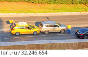??????, ??????, 2016: Accident. Collision of two cars on the city street. Text in Russian: Yandex Taxi. Редакционное фото, фотограф Акиньшин Владимир / Фотобанк Лори