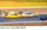 Купить «??????, ??????, 2016: Accident. Collision of two cars on the city street. Text in Russian: Yandex Taxi», фото № 32246654, снято 28 июля 2016 г. (c) Акиньшин Владимир / Фотобанк Лори