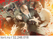 Businesspeople frightening with blood splatter effect. Стоковое фото, фотограф Яков Филимонов / Фотобанк Лори