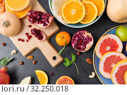 different vegetables and fruits on on slate table. Стоковое фото, фотограф Syda Productions / Фотобанк Лори