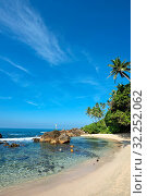 Sri Lanka, Southern Province, Sud du Sri Lanka, Süd Sri Lanka, South Sri Lanka, Mirissa, Secret Beach, plage, Strand, beach, palmier, palmiers, Palme,... Стоковое фото, фотограф Stephan Engler / age Fotostock / Фотобанк Лори