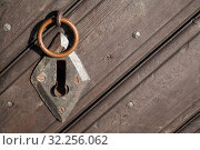 Old rusted keyhole and small ring. Стоковое фото, фотограф EugeneSergeev / Фотобанк Лори