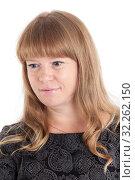 Купить «Blond long hair Caucasian woman looking down, isolated on white background», фото № 32262150, снято 24 сентября 2016 г. (c) Кекяляйнен Андрей / Фотобанк Лори