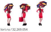 Купить «Woman with suitcase and umbrella isolated on white», фото № 32269054, снято 26 апреля 2013 г. (c) Elnur / Фотобанк Лори