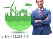 Купить «Green energy anc ecology concept with businessman», фото № 32269110, снято 24 января 2020 г. (c) Elnur / Фотобанк Лори