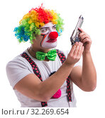 Купить «Funny clown with a gun pistol isolated on white background», фото № 32269654, снято 26 мая 2017 г. (c) Elnur / Фотобанк Лори