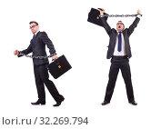 Купить «Businessman with chain isolated on the white», фото № 32269794, снято 13 января 2013 г. (c) Elnur / Фотобанк Лори