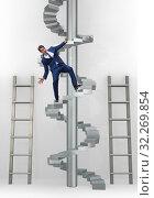 Купить «Employee being fired and falling from career ladder», фото № 32269854, снято 16 октября 2019 г. (c) Elnur / Фотобанк Лори