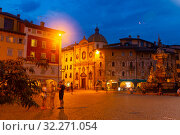 Купить «Evening view of square Piazza Duomo in Trento city with Fountain», фото № 32271054, снято 1 сентября 2019 г. (c) Яков Филимонов / Фотобанк Лори