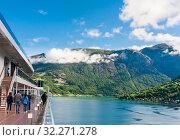 Купить «Cruise Ship In The Fjord Of Olden Norway», фото № 32271278, снято 7 августа 2020 г. (c) Николай Коржов / Фотобанк Лори