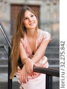 Купить «close-up portrait of cheeful female with long hair in romantic midi gown», фото № 32275842, снято 26 августа 2017 г. (c) Яков Филимонов / Фотобанк Лори