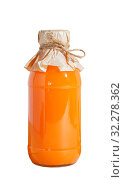 Купить «Vegetable fruit juice in a closed glass bottle of pumpkin orange carrot sea buckthorn bright orange color isolate on a white background. Home canning, healthy nutrition and diet for weight loss», фото № 32278362, снято 22 сентября 2019 г. (c) Светлана Евграфова / Фотобанк Лори
