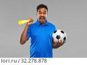 Купить «male football fan with soccer ball and vuvuzela», фото № 32278878, снято 8 сентября 2019 г. (c) Syda Productions / Фотобанк Лори