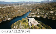 Купить «Aerial view of Sant Pere de Casserres - Benedictine monastery in Spain», видеоролик № 32279578, снято 15 ноября 2018 г. (c) Яков Филимонов / Фотобанк Лори