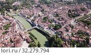 Купить «Aerial view on the city Condom. France», видеоролик № 32279794, снято 19 июля 2019 г. (c) Яков Филимонов / Фотобанк Лори