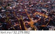 Купить «Aerial view of Valladolid at twilight. Spain», видеоролик № 32279882, снято 22 октября 2019 г. (c) Яков Филимонов / Фотобанк Лори