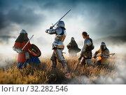 Купить «Medieval knights fight, great combat», фото № 32282546, снято 5 июля 2019 г. (c) Tryapitsyn Sergiy / Фотобанк Лори