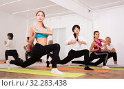 Flexible girls practice yoga in in fitness center. Стоковое фото, фотограф Яков Филимонов / Фотобанк Лори
