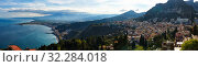 Купить «Breathtaking Panoramic view of Taormina, Etna from walls of the Greek Theater», фото № 32284018, снято 17 мая 2019 г. (c) Ирина Мойсеева / Фотобанк Лори