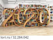 Купить «2020 new year education concept. Bookshelves with books in the form of text 2020 in school library.», фото № 32284042, снято 17 ноября 2019 г. (c) Maksym Yemelyanov / Фотобанк Лори