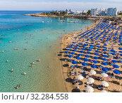 Купить «Protaras, Cyprus - Oct 11. 2019 The Famous fig tree beach of city», фото № 32284558, снято 11 октября 2019 г. (c) Володина Ольга / Фотобанк Лори