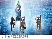 Competition concept with businessman on rocket. Стоковое фото, фотограф Elnur / Фотобанк Лори