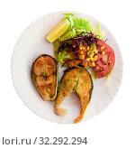 Купить «Top view of fried salmon steaks», фото № 32292294, снято 16 октября 2019 г. (c) Яков Филимонов / Фотобанк Лори