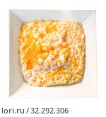Купить «Top view of gratin risotto with prawns», фото № 32292306, снято 20 ноября 2019 г. (c) Яков Филимонов / Фотобанк Лори