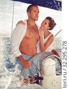 Купить «Couple steering yacht along Spanish coast», фото № 32295278, снято 10 декабря 2019 г. (c) Яков Филимонов / Фотобанк Лори