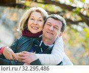 Купить «Mature loving couple in spring park», фото № 32295486, снято 17 октября 2019 г. (c) Яков Филимонов / Фотобанк Лори
