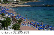 Protaras, Cyprus - Oct 12. 2019. Resort town on the Famous Sunrise Beach. Редакционное видео, видеограф Володина Ольга / Фотобанк Лори