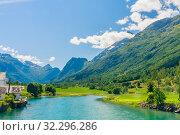 Купить «The River Oldeelva. Olden. Norway», фото № 32296286, снято 7 августа 2020 г. (c) Николай Коржов / Фотобанк Лори