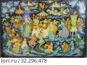 Купить «Palekh traditional miniature, Palekh, Ivanovo region, Russia.», фото № 32296478, снято 7 сентября 2018 г. (c) age Fotostock / Фотобанк Лори