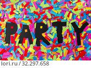 Купить «black party word made of multicolored papers», фото № 32297658, снято 19 декабря 2018 г. (c) Syda Productions / Фотобанк Лори