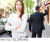 Купить «Offended girl after quarrel with boyfriend», фото № 32298442, снято 11 апреля 2017 г. (c) Яков Филимонов / Фотобанк Лори