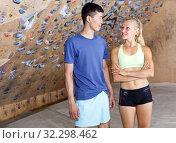 Купить «Satisfied fit couple after climbing workout», фото № 32298462, снято 16 июля 2018 г. (c) Яков Филимонов / Фотобанк Лори