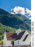 Купить «Norway, Sogn of Fjordane county. White wooden church in Olden», фото № 32298966, снято 6 августа 2020 г. (c) Николай Коржов / Фотобанк Лори