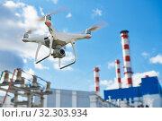 Купить «drone service. power electrical station inspection», фото № 32303934, снято 23 сентября 2019 г. (c) Дмитрий Калиновский / Фотобанк Лори