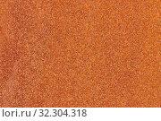 Купить «Close up macro view of flecked old rusty metal surface yellow-orange color», фото № 32304318, снято 13 мая 2019 г. (c) А. А. Пирагис / Фотобанк Лори