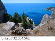 Купить «Landscape on a Cat mountain with the Black Sea in Crimea», фото № 32304562, снято 1 июля 2019 г. (c) Володина Ольга / Фотобанк Лори