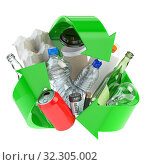 Купить «Recycle sign with different types of waste. Garbage and trash sorted by plastic, e-waste, metal, glass and paper. Ecology and green energy concept.», фото № 32305002, снято 23 февраля 2020 г. (c) Maksym Yemelyanov / Фотобанк Лори